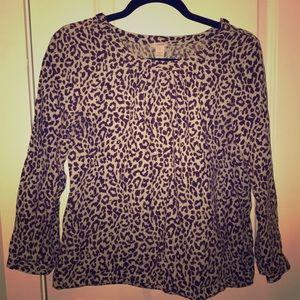 Jcrew Linen Shirt SZ 4 Cheetah Print